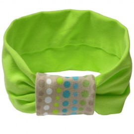 Lime Green with Beige Mosaic Headband - Baby Babas