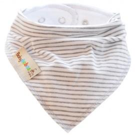 White with Grey Stripes Summer Dribble Bib