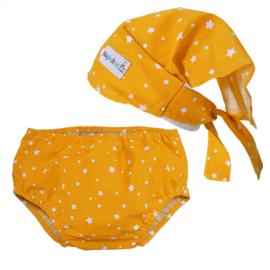 Conjunto Pañuelo Pirata & Cubrepañal Estrellas Amarillo - Baby Babas