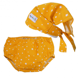 Yellow Stars Headscarf & Nappy Cover Set - Baby Babas