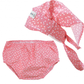 Pink Print Headscarf & Nappy Cover Set - Baby Babas