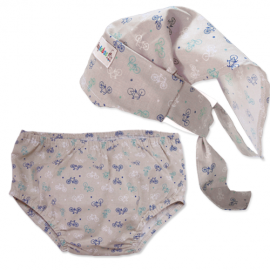 Bicycles Headscarf & Nappy Cover Set - Baby Babas