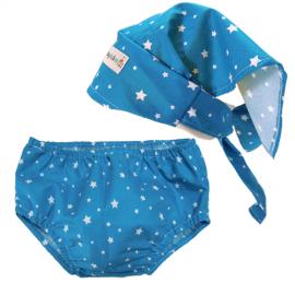Conjunto Pañuelo Pirata & Cubrepañal Estrellas Azul - Baby Babas