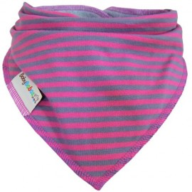 Fuchsia with Grey Stripes - bandana dribble bib - Baby Babas