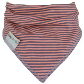 Coral with Grey Stripes - bandana dribble bib - Baby Babas