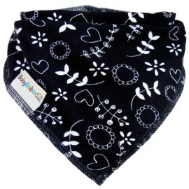 Floral Print on Black - Bandana Dribble Bib - Baby Babas