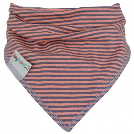 Coral with Grey Stripes Summer Dribble Bib - Baby Babas