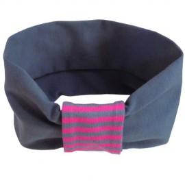 Grey with Fuchsia Stripes Headband - Baby Babas