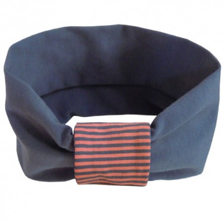 Grey with Coral Stripes Headband - Baby Babas