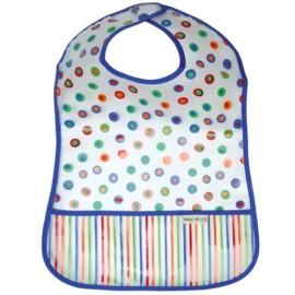 Babero con Bolsillo Topos Azul - Baberos Alimentación - Baby Babas