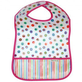 Pink Dots Bib with Pocket - Feeding Bib - Baby Babas