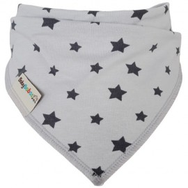 Light Grey with Stars - Bandana Dribble Bib - Baby Babas