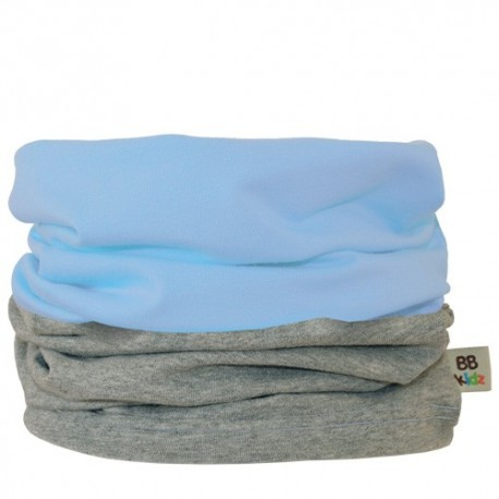 Light Blue & Grey Duo Tube Scarf - Baby 0-2 years by Baby Babas