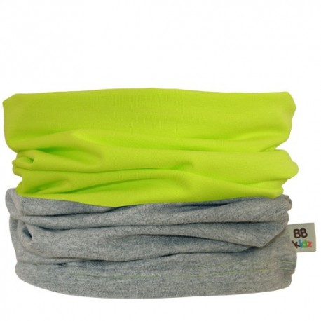 Lime Green & Grey Duo Tube Scarf - Baby Babas