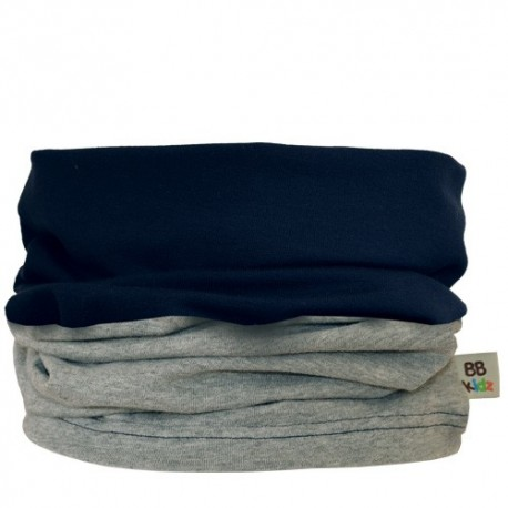 Grey & Navy Blue Duo Tube Scarf- Baby 0-2 years - Baby Babas