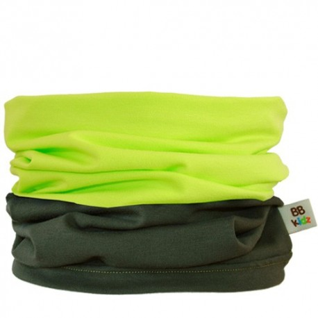 Khaki & Lime Green Duo Tube Scarf 0-2 years - Baby Babas