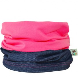 Denim & Rasberry Pink Duo Tube Scarf - Baby