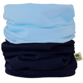 Light Blue & Charcoal Grey Duo Tube Scarf - Kids