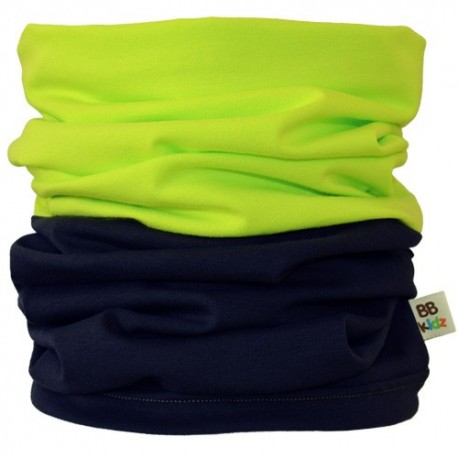 Lime Green & Charcoal Grey Duo Tube Scarf - Kids