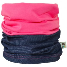 Denim & Rasberry Pink Duo Tube Scarf - Kids 2-8 years - Baby Babas