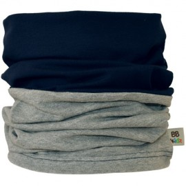 Grey & Navy Blue Duo Tube Scarf - Kids 2-8 years - Baby Babas