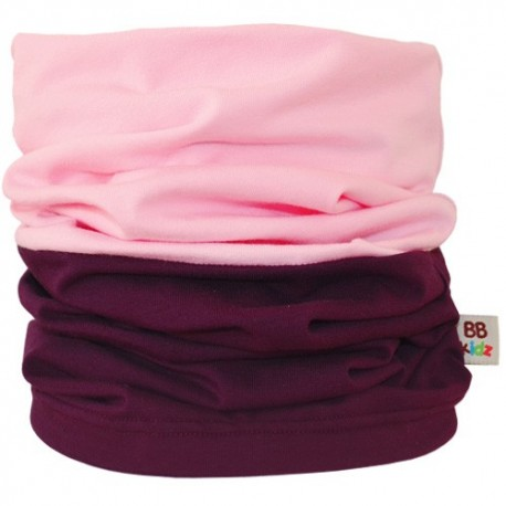 Aubergine & Light Pink Duo Tube Scarf - Kids 2-8 years