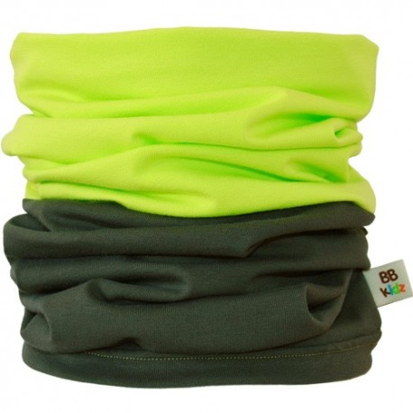 Khaki & Lime Green Duo Tube Scarf - Kids 2-8 years - Baby Babas