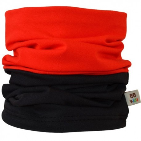 Red & Black Duo Tube Scarf - Kids 2-8 years - Baby Babas