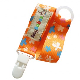 Orange with Butterflies Pacifier Clip