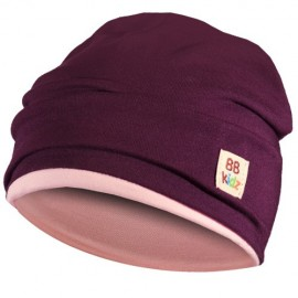 Aubergine & Light Pink Hat - Baby 6-24 months - Baby Babas