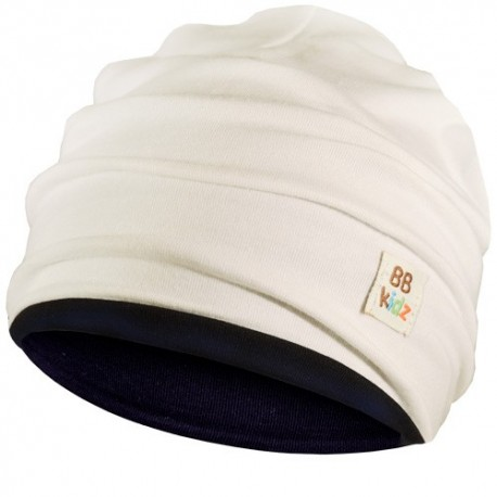 Cream & Navy Blue Hat - Baby 6-24 months - Baby Babas