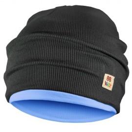 Charcoal Grey & Light Blue Hat - Kids