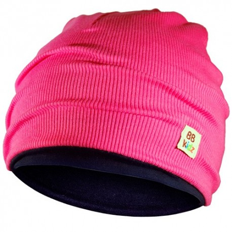 Rasberry Pink & Navy Blue Hat - Kids 2-8 years - Baby Babas