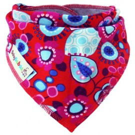 Red with Blue Flowers bandana dribble bib by Baby Babas