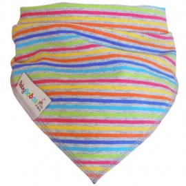 Grey with Multi Coloured Stripes Dribble Bib XL - Baby Babas