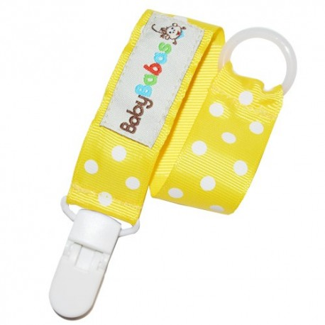 Yellow Polka Dot Pacifier Clip - Baby Babas