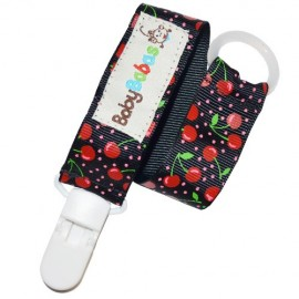 Black with Cherries Pacifier Clip - Baby Babas