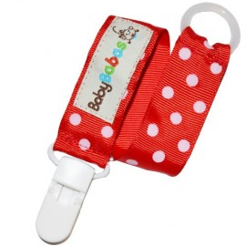 Red Polka Dot Pacifier Clip - Baby Babas