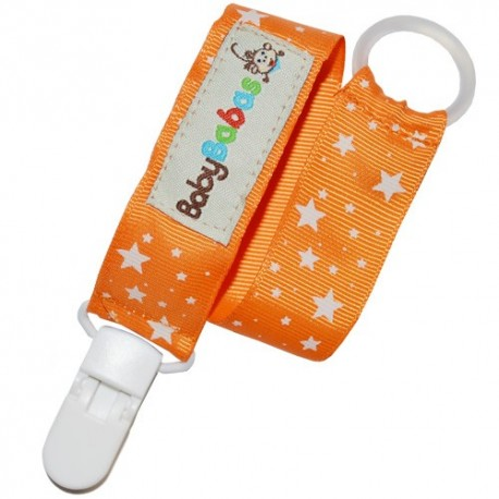 Orange with White Stars Pacifier Clip - Baby Babas