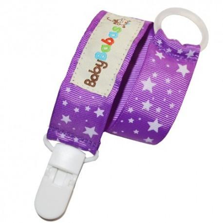 Sujeta Chupete Purpura con estrellas - Baby Babas