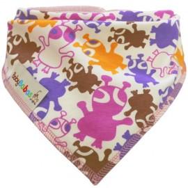 Pink, Lilac & Orange Aliens - bandana dribble bib by Baby Babas