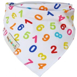 White with Multicoloured Numbers Dribble Bib XL - Baby Babas