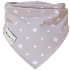 Beige with White Stars Dribble Bib XL - Baby Babas