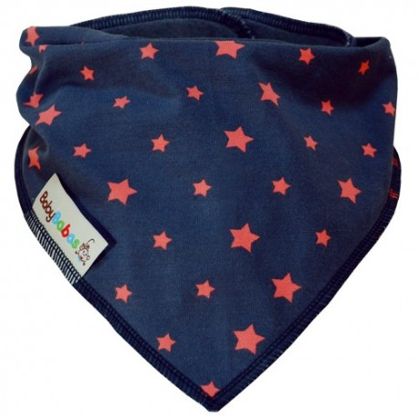 Grey with Coral Stars Dribble Bib XL - Baby Babas
