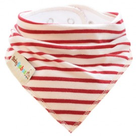 Cream with Red Stripes Summer Dribble Bib - bandana dribble bib