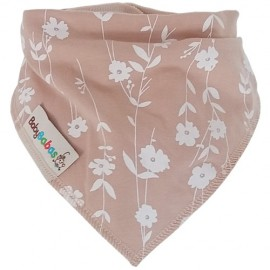 Beige with Flowers Summer Dribble Bib - bandana dribble bib