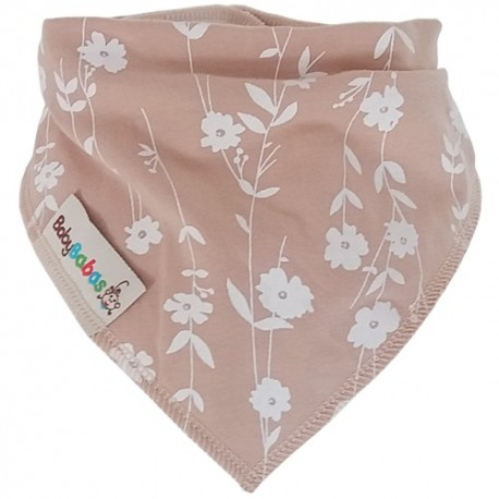 Beige with Flowers Summer Dribble Bib - bandana dribble bib