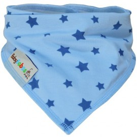 Light Blue with Stars - bandana dribble bib - Baby Babas
