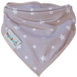 Beige with White Stars - Bandana Dribble Bib - Baby Babas