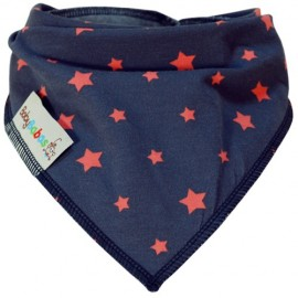 Grey with Coral Stars - Bandana Dribble Bib - Baby Babas